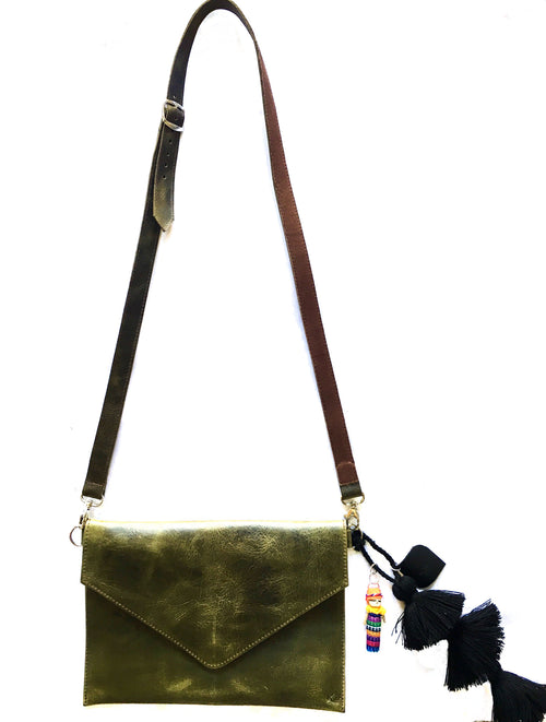 Green Pom Pom Cross Body