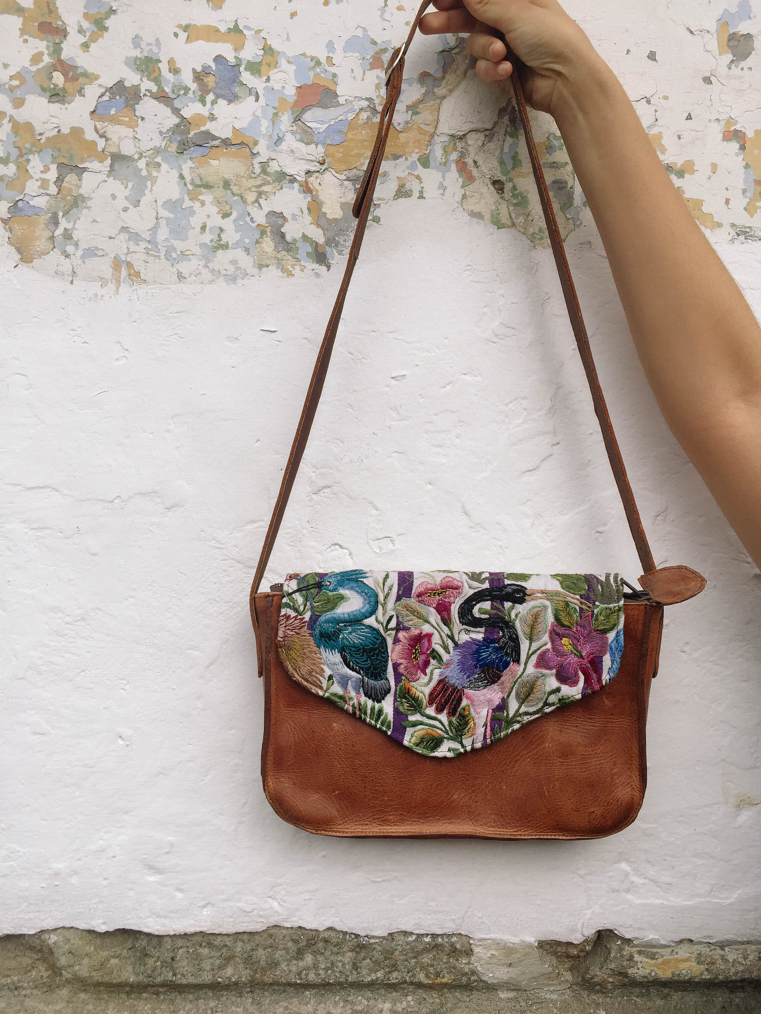 Birds of Paradise Cross Body Brown Bag