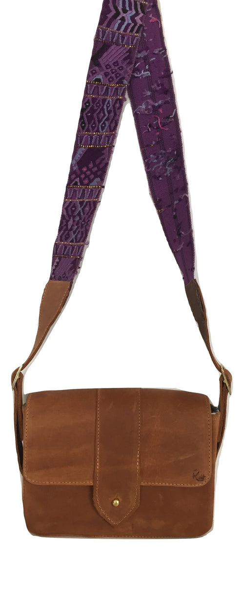 Square Crossbody - Purple Textile Strap