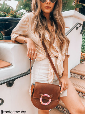 Pom Pom Crossbody - Brown