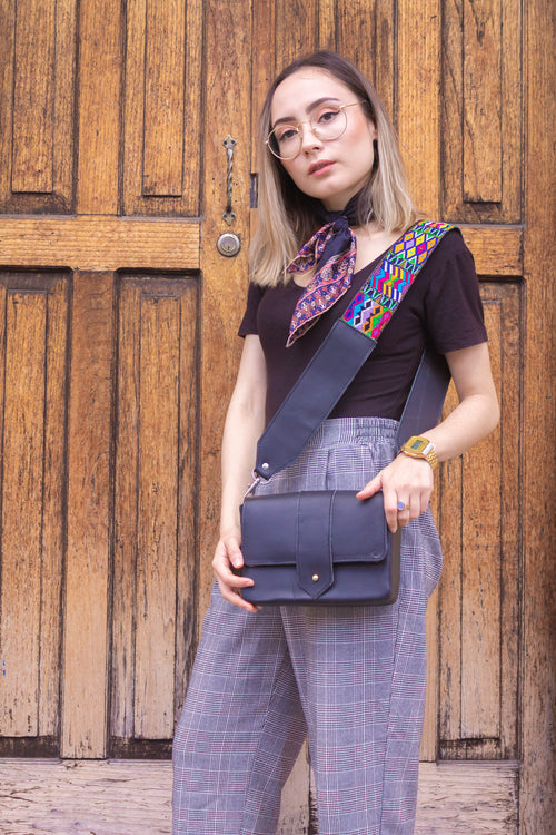 Square Crossbody - Black/Textile Strap