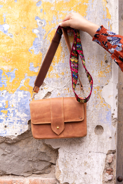 Square Crossbody - Orange/Textile Strap