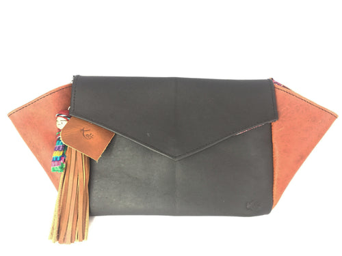 Black & Brown Leather Clutch