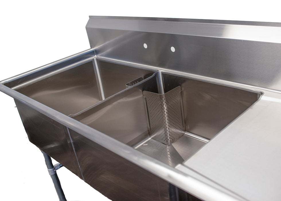 Two Compartment Commercial Sink with Drainboard