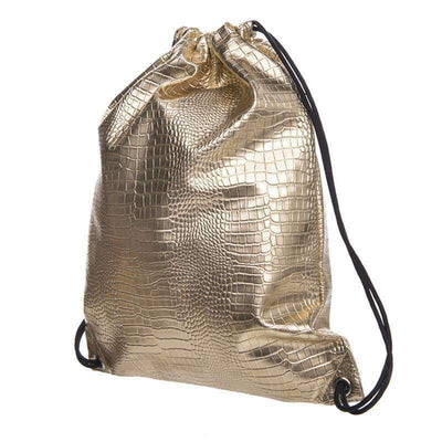 DeeTrade Backpack Gold Croco Skin Drawstring Backpack