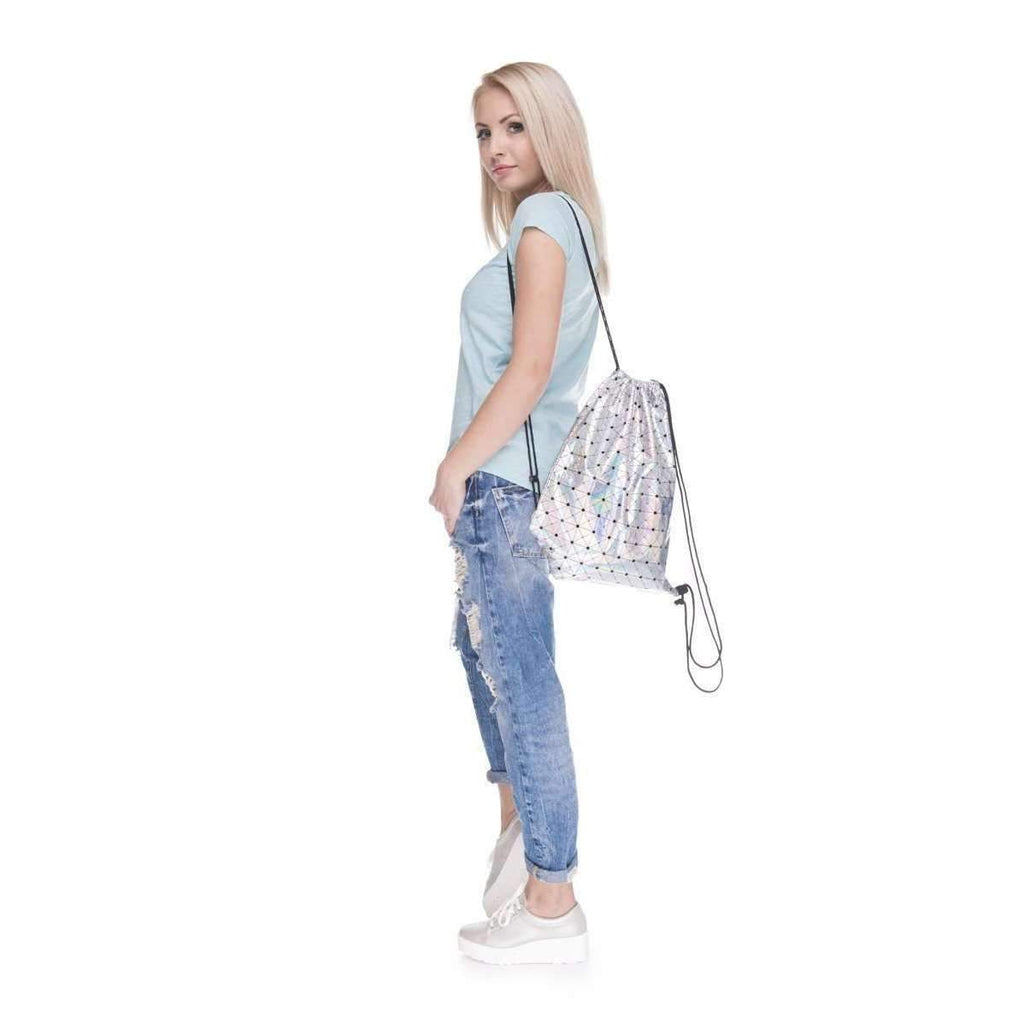 DeeTrade Backpack Triangle Glossy Drawstring Backpack