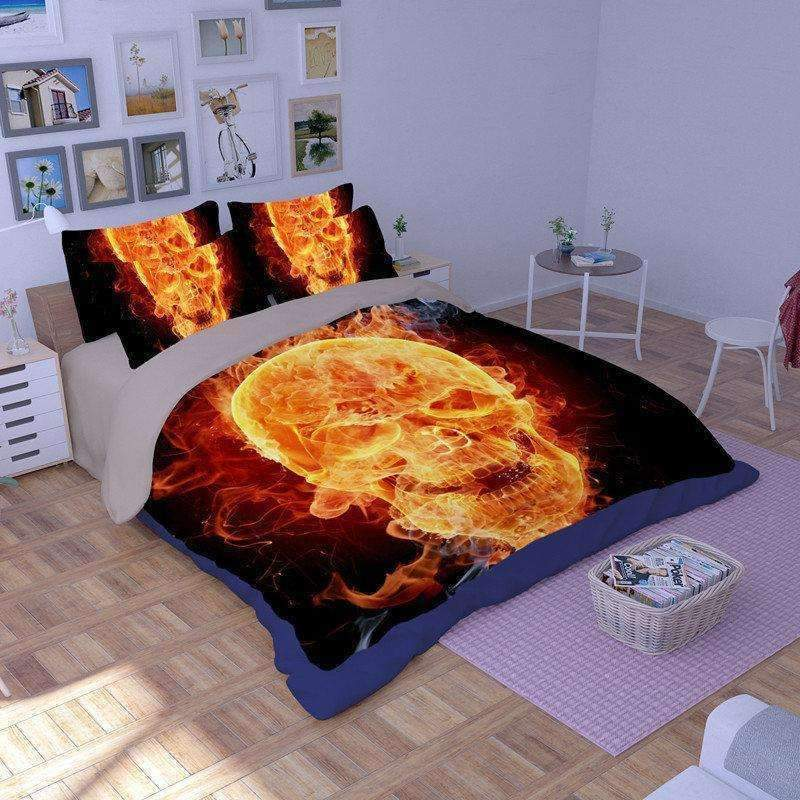 DeeTrade Bedding Set Flaming Skull Bedding Set 3PCS