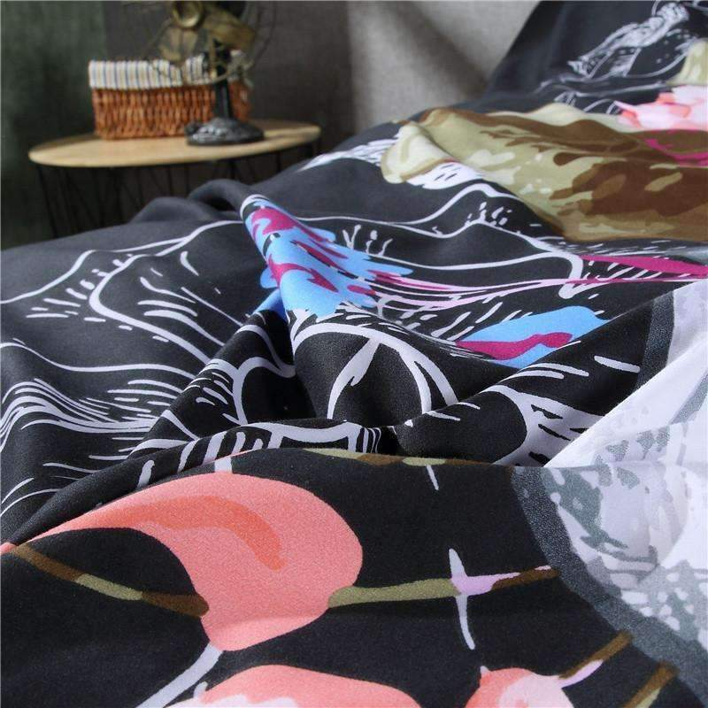 DeeTrade Bedding Set Floral Skull Bedding Set 4PCS