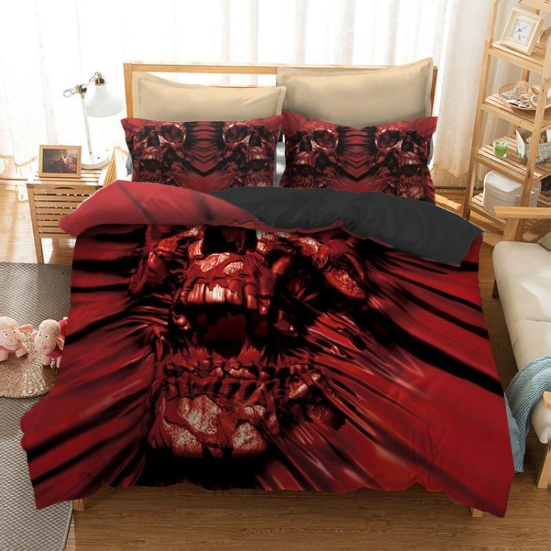 DeeTrade Bedding Set Red Skull Bedding Set 3PCS