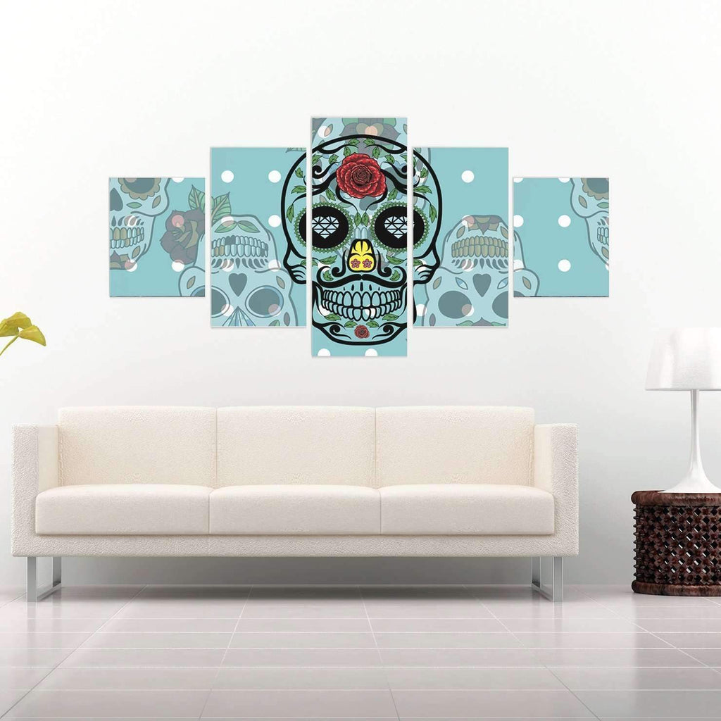 DeeTrade canvas Blue Skulls Wall Art