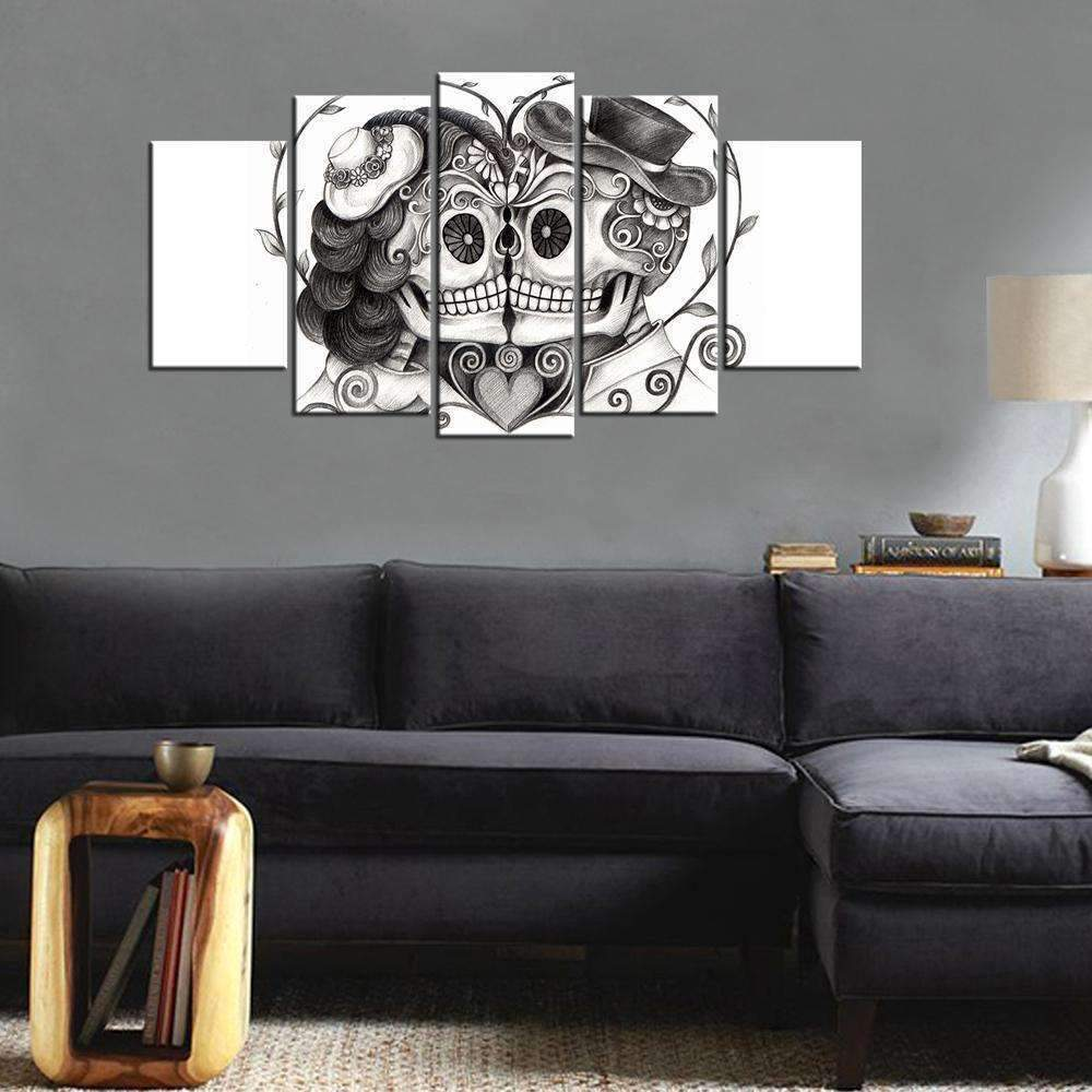 DeeTrade canvas Kissing Sugar Skulls Wall Art