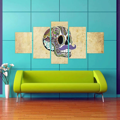 DeeTrade canvas Moustached Skull Wall Art