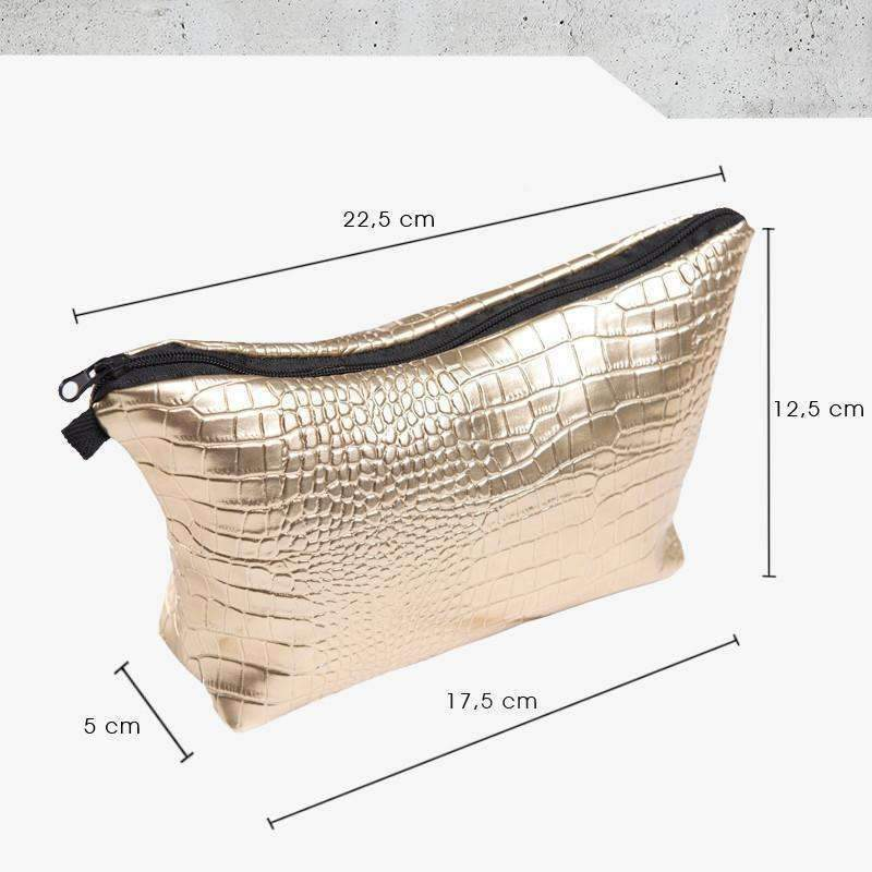 DeeTrade purse Gold Croco Skin Cosmetic Bag