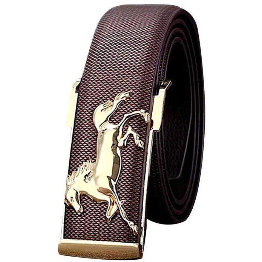DeeTrade Stylish Leather Belt w/Horse Buckle (2 colors)