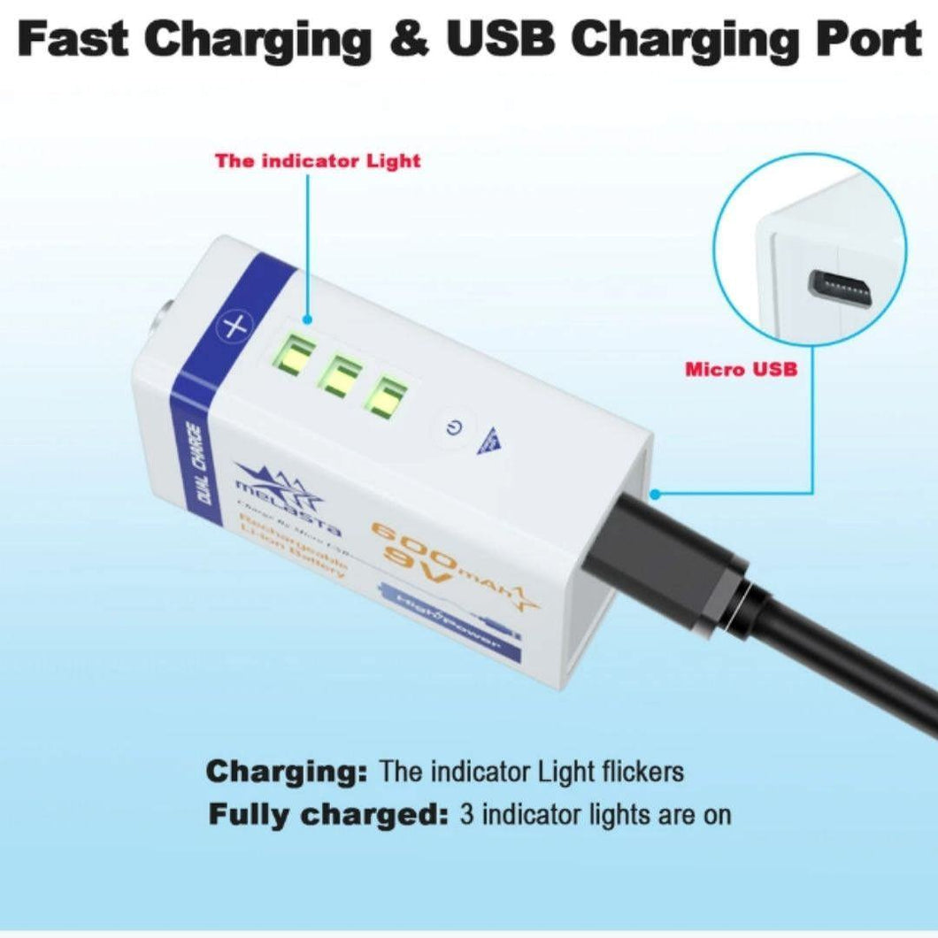9 Volt Melasta USB Rechargeable Battery w/USB Cable For CES Therapy Devices