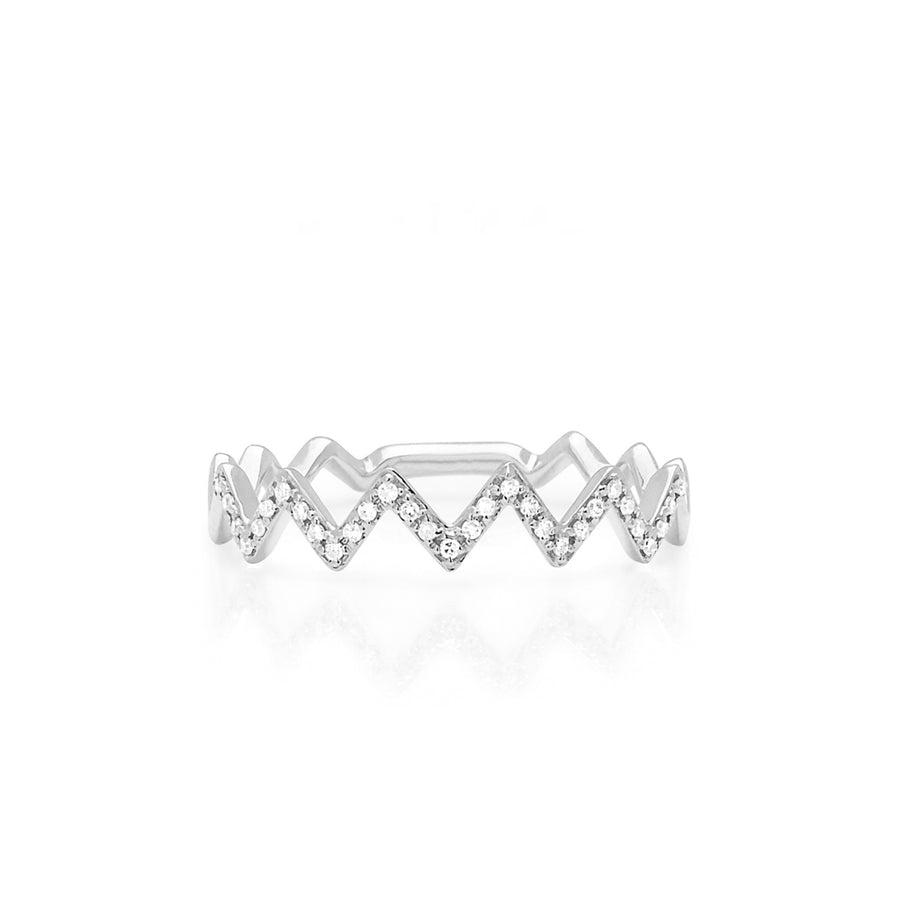 White Gold Diamond Zig Zag Ring