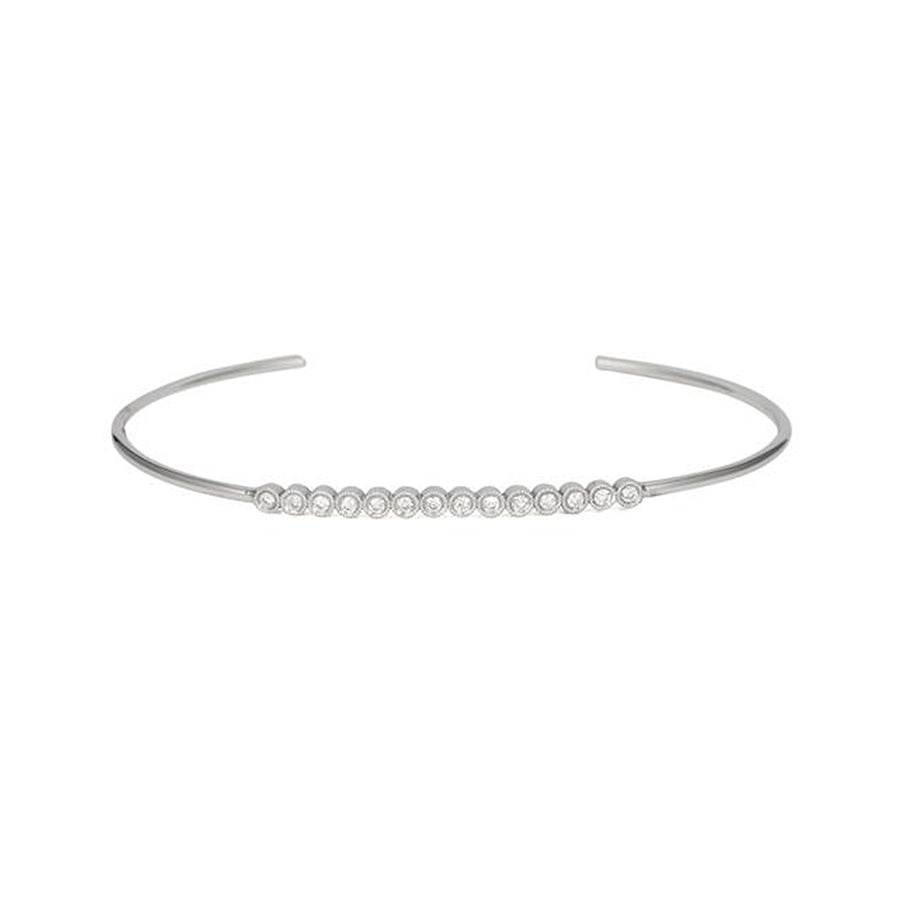 Bezel Diamond Bar Push On Bangle