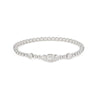 White Gold And Diamond Baguette Beaded Bangle