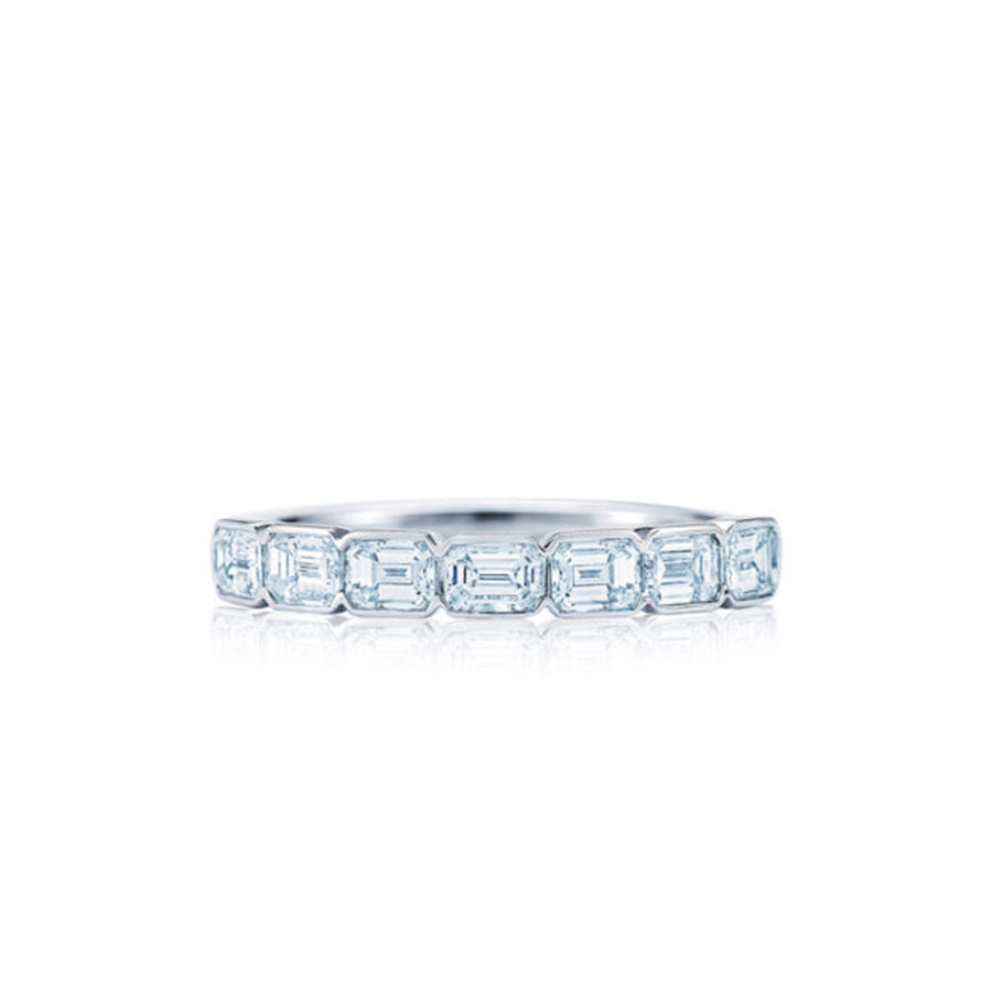 Emerald Cut Diamond Half Bezel Eternity Band