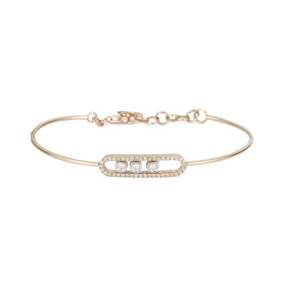 Rose Gold Moving Diamond Bezel Bracelet
