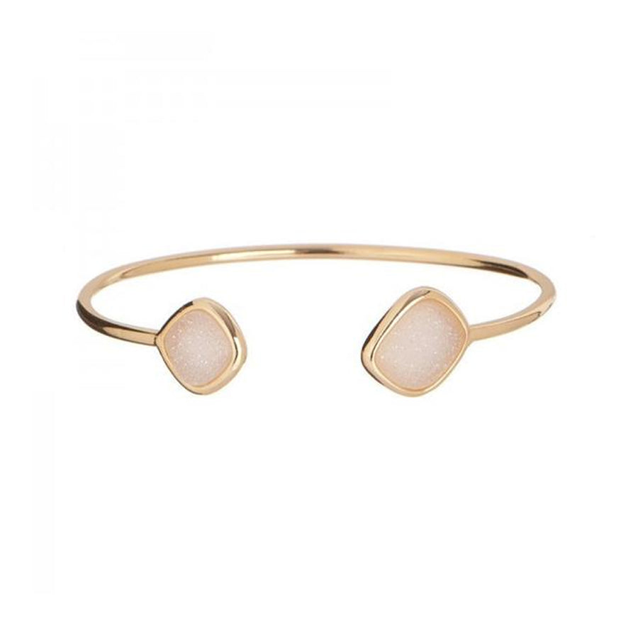 Square Natural Druzy Open Stackable Bangle