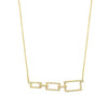 Yellow Gold Graduated Rectangular Diamond Bar Necklace