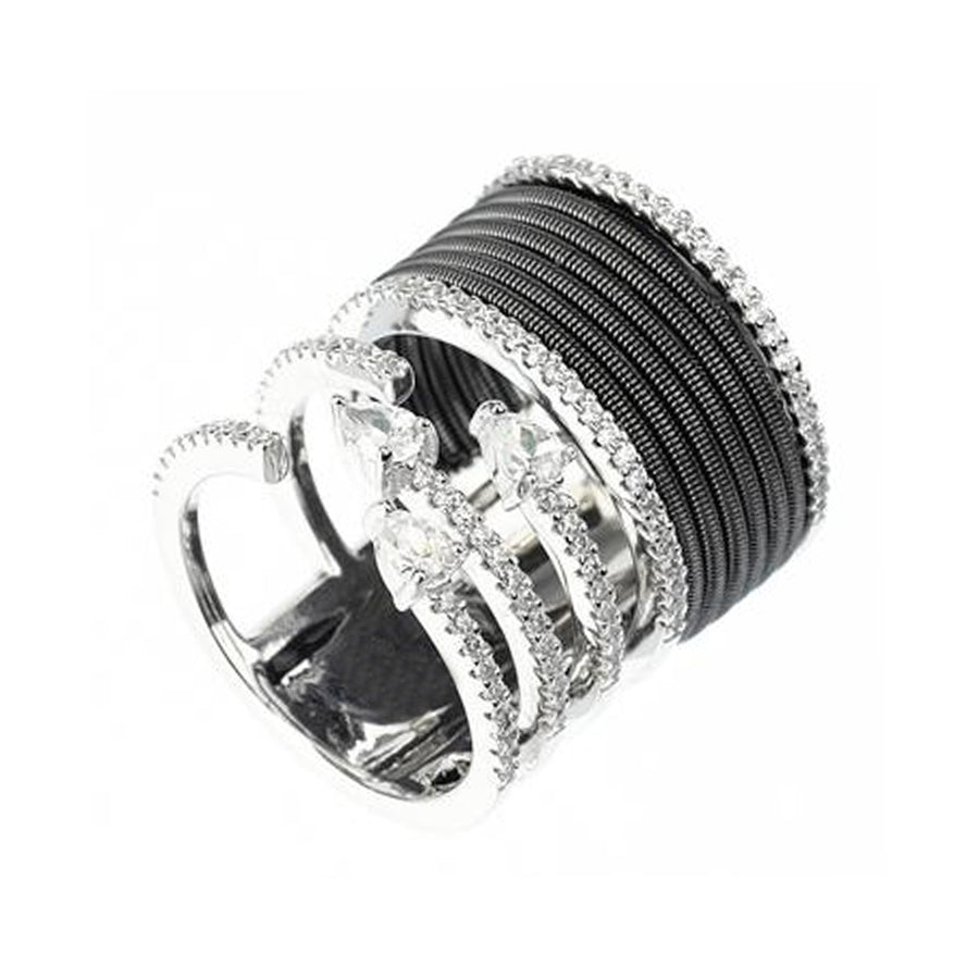Black And White Wide Coil Ring