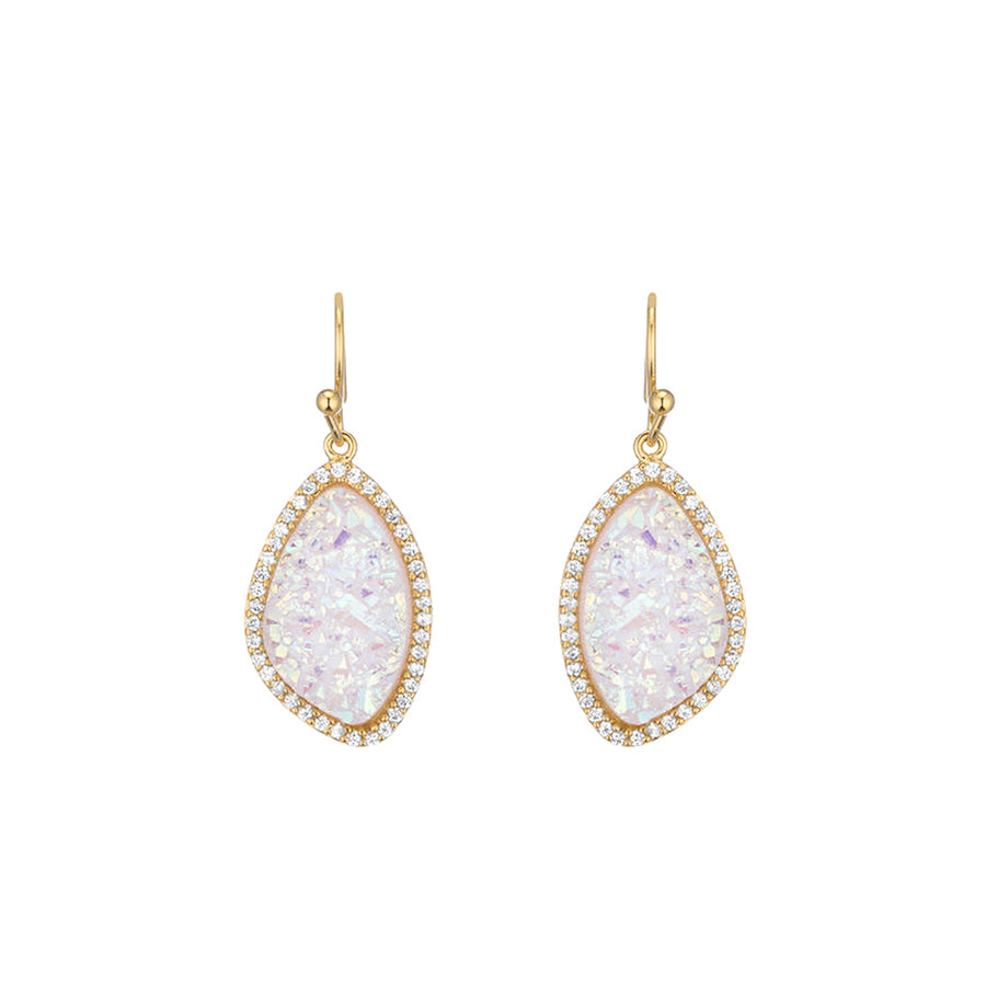 Natural Organic White Druzy Drop Earring