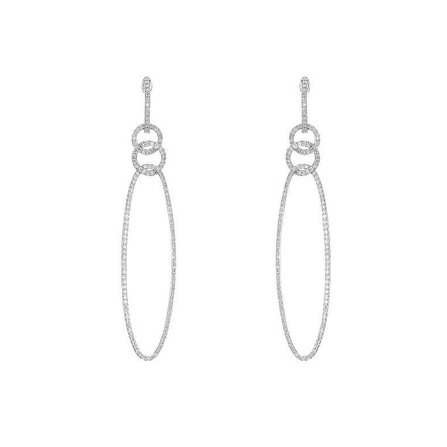 White Gold Diamond Oval Hoop Earrings