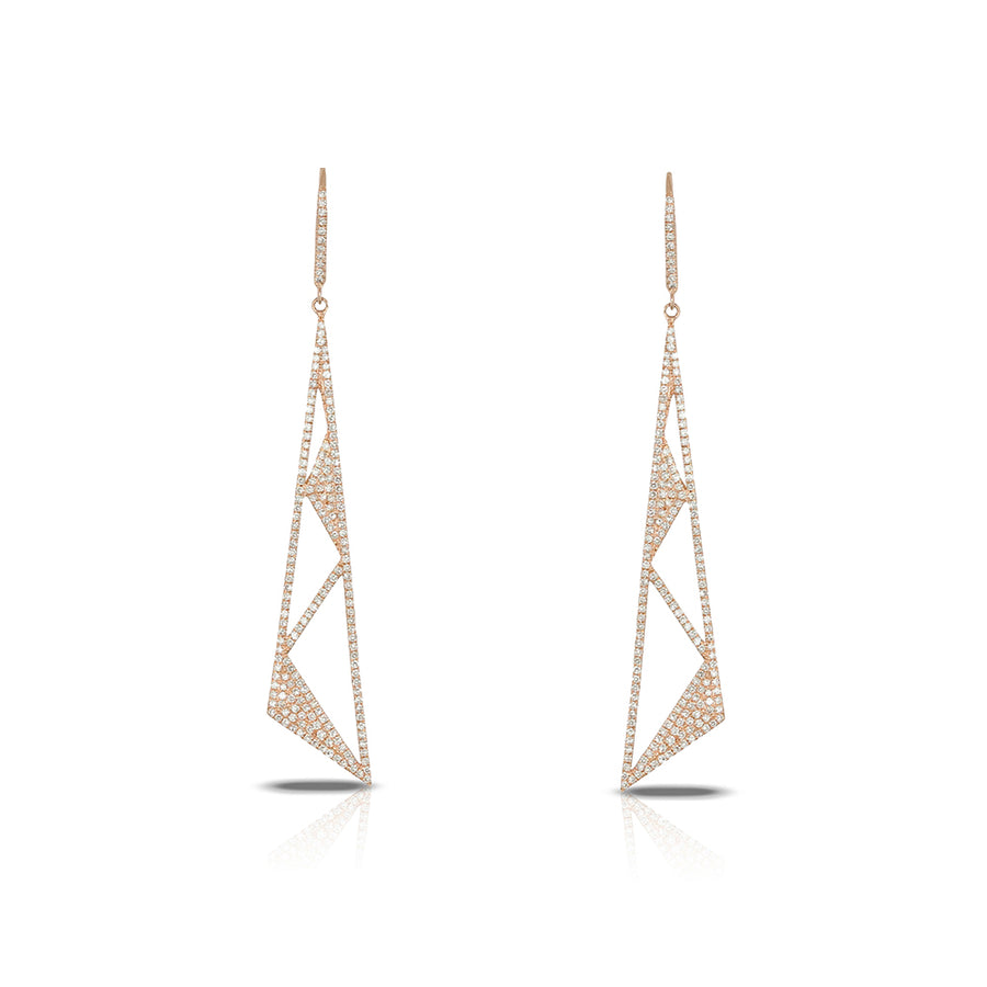 14kt Diamond Geometric Shaped Earrings