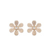 Yellow Gold Diamond Flower Stud Earrings