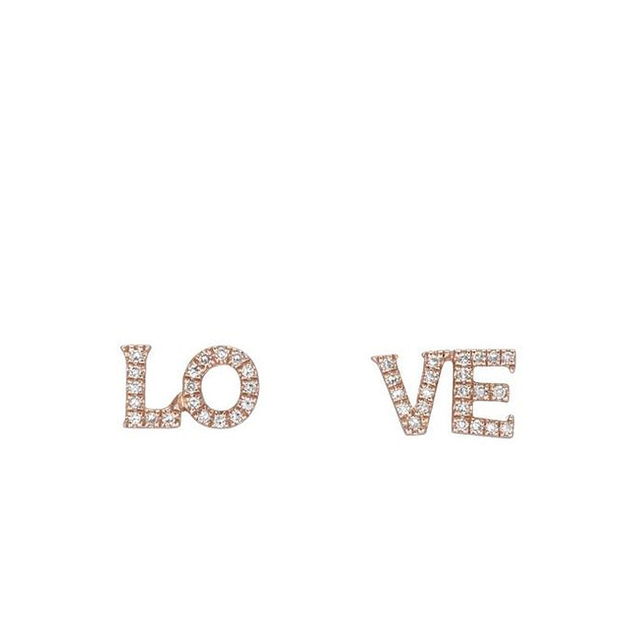 Diamond LO VE Stud Earrings