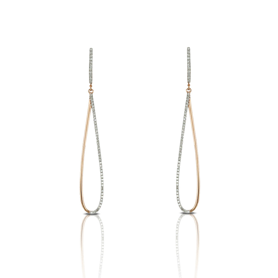 Delicate Pave' Diamond And Rose Gold Oval Hoop Earrings
