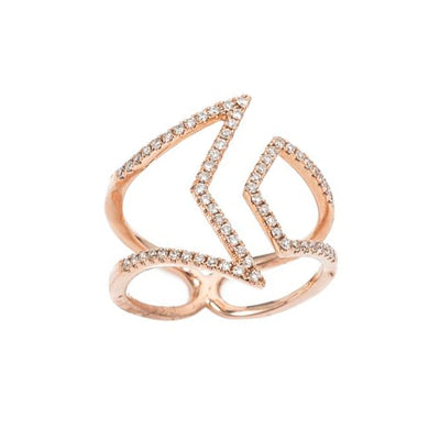 Rose Gold Split Diamond Chevron Ring