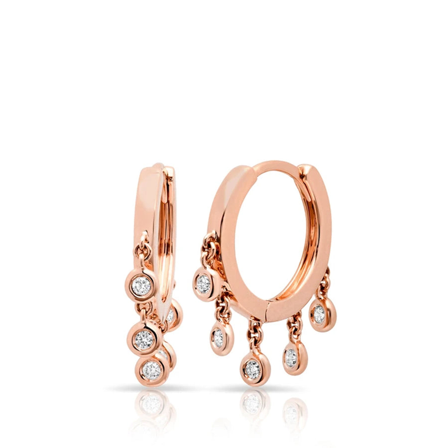 Rose Gold Diamond Droplet Huggie Earrings