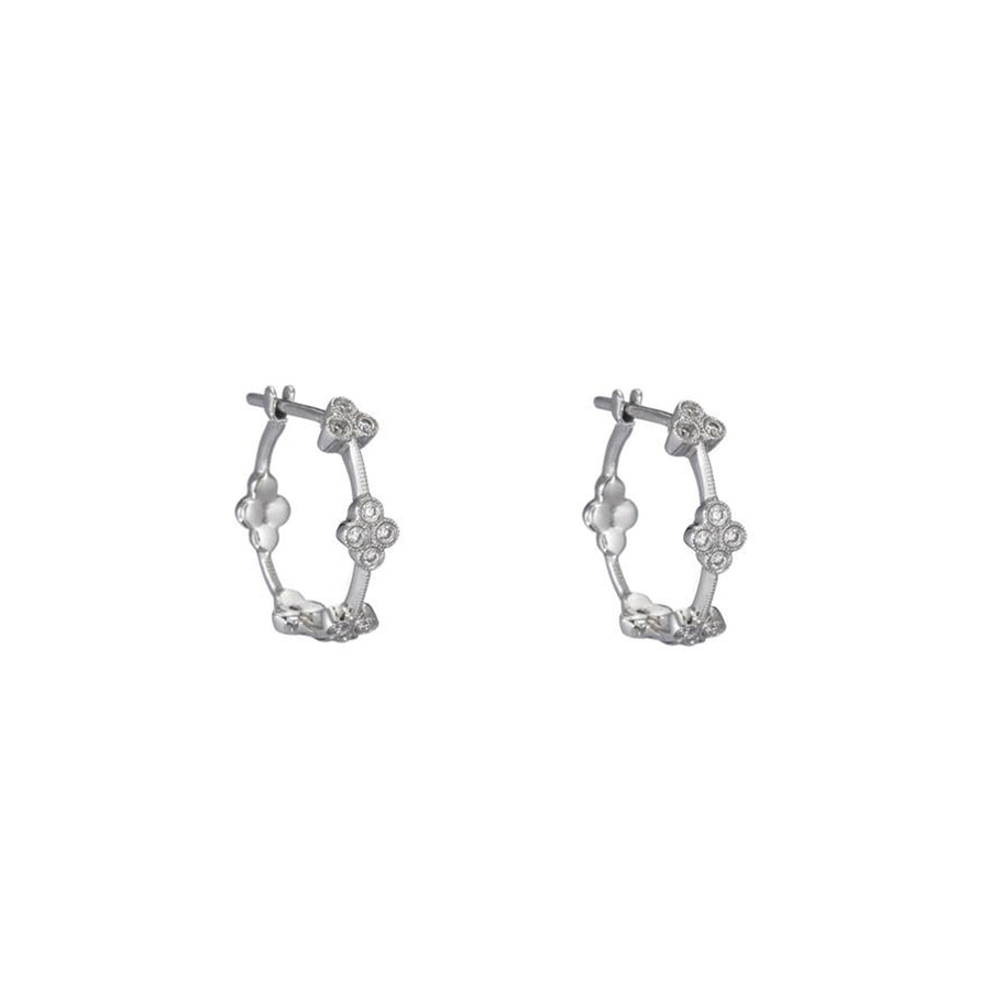 White Gold Diamond Flower Hoop Earrings