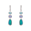 White Gold Diamond Tanzanite And Opal Triple Drop Earrings