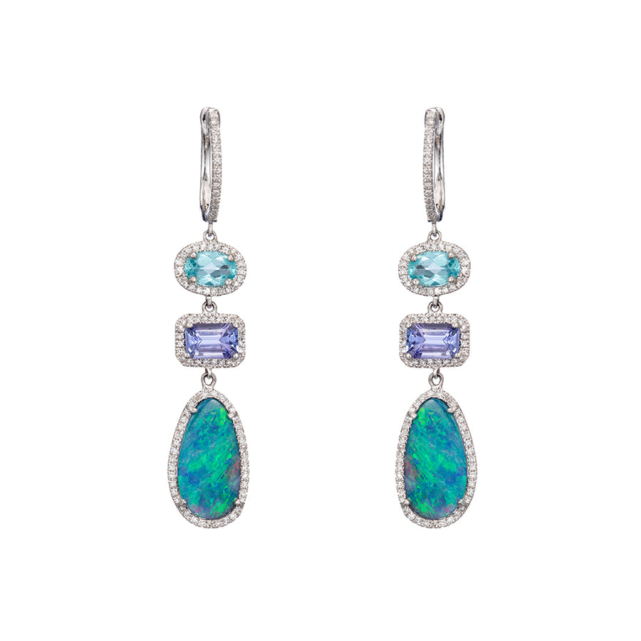 Tanzanite And Opal Earrings