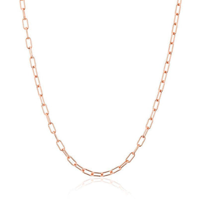 Rose Gold Paper Clip Link Chain Necklace
