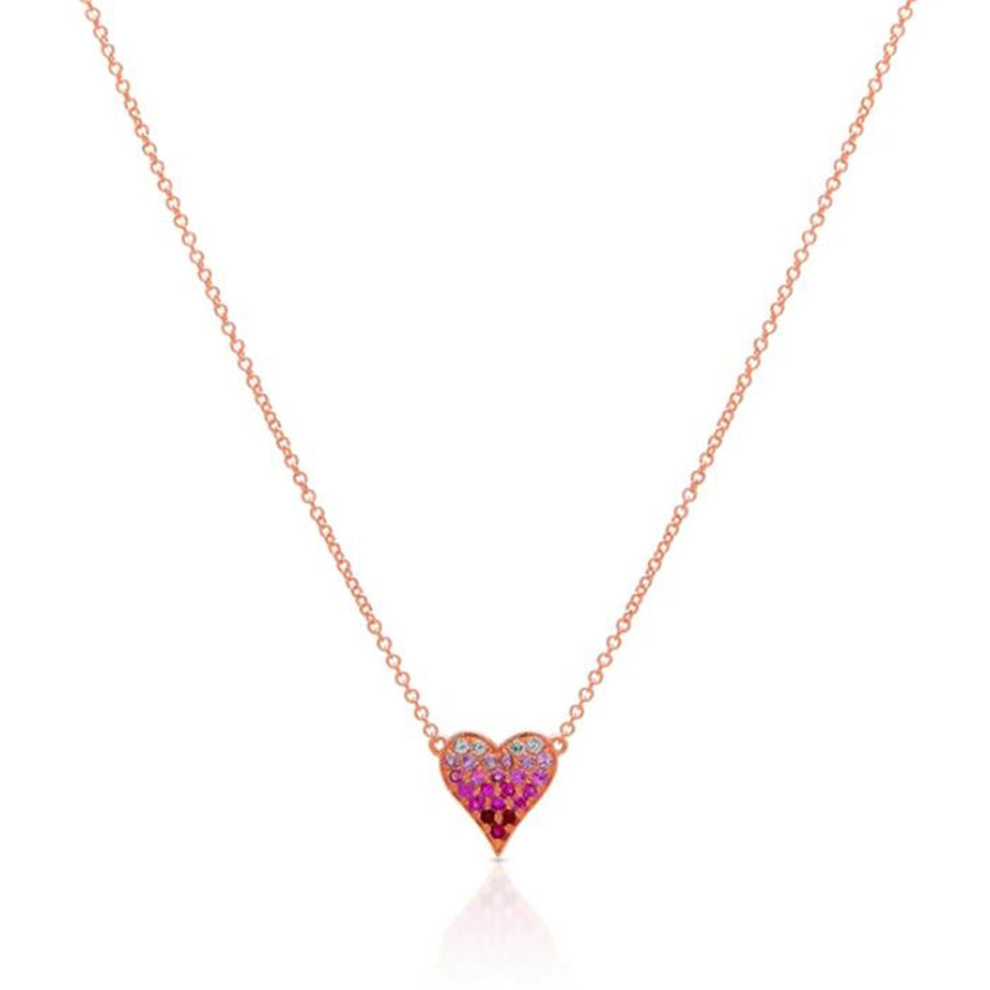 Rose Gold Pink Sapphire Heart Necklace