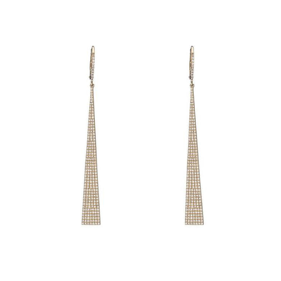 Yellow Gold Diamond Long Drop Earrings