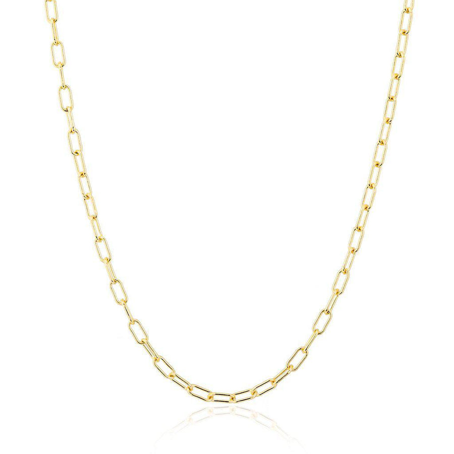 Yellow Gold Paper Clip Link Chain Necklace