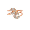 Rose Gold Diamond Double Twisted Safety Pin Ring
