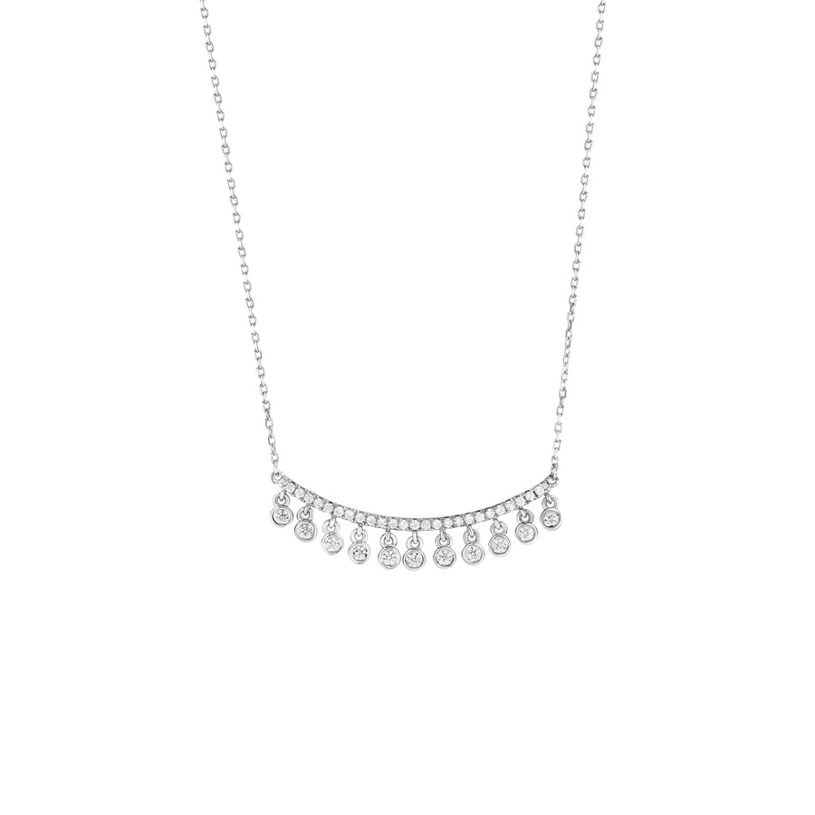 Silver Faux Diamond Dangle Bar Necklace