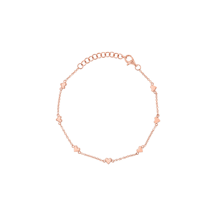 Rose Gold Heart And Chain Bracelet