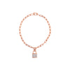 Rose Gold Link Diamond Lock Bracelet