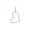 Gold Diamond Open Heart Pendant Charm