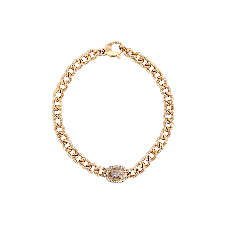 Rose Gold Morganite Diamond Cuban Chain Link Bracelet