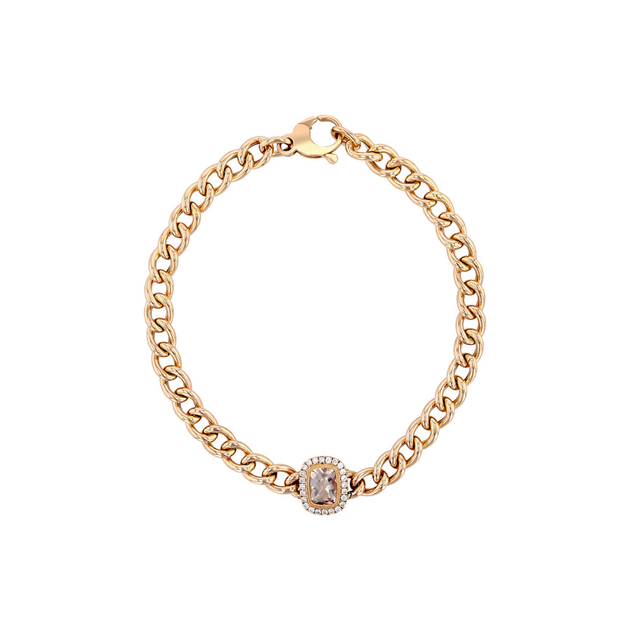White Gold Diamond Baguette On Link Bracelet