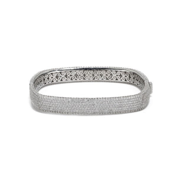 Silver Square Faux Diamond Eternity Bangle